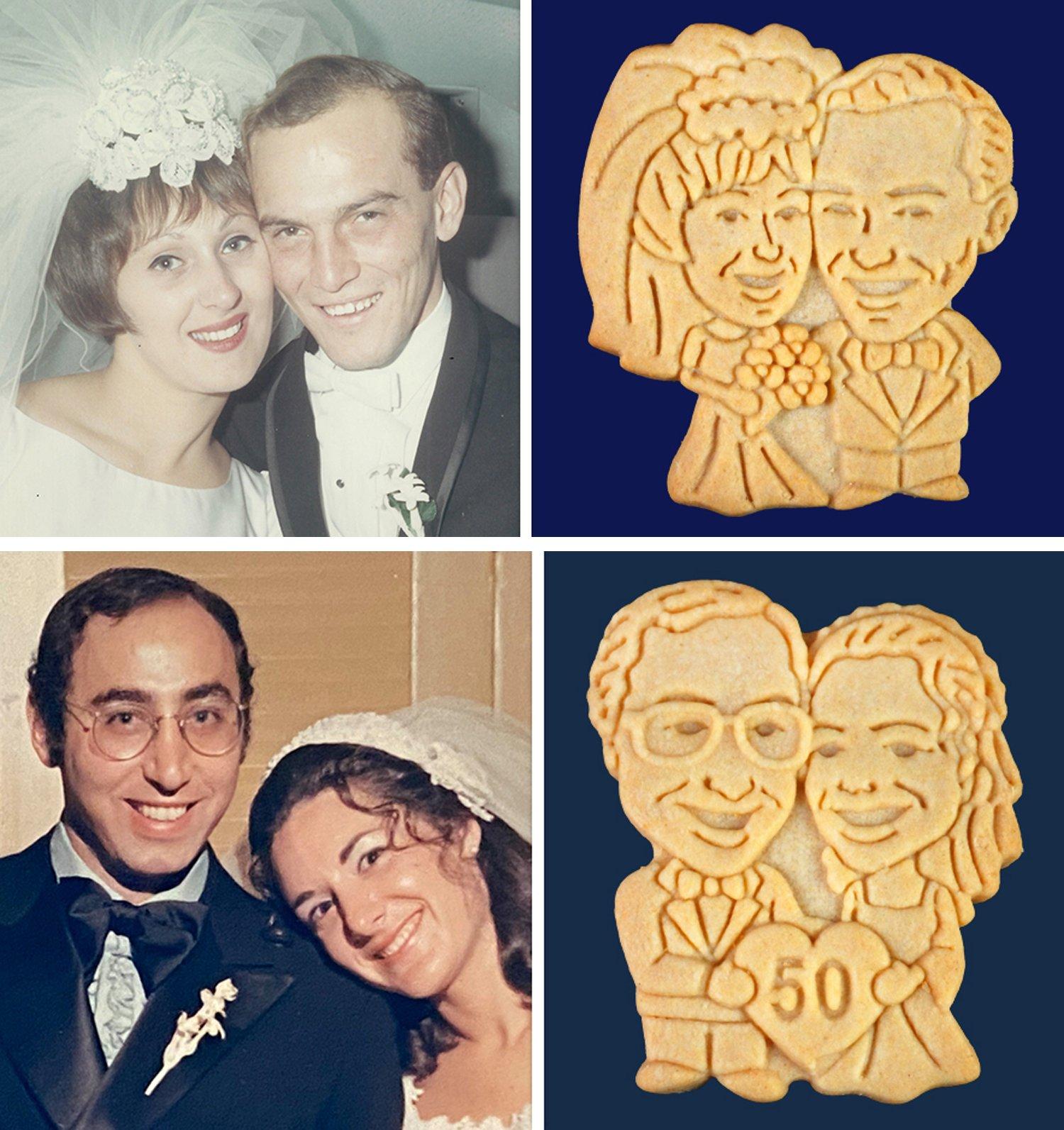 Vintage Wedding Anniversary Couple Cookies